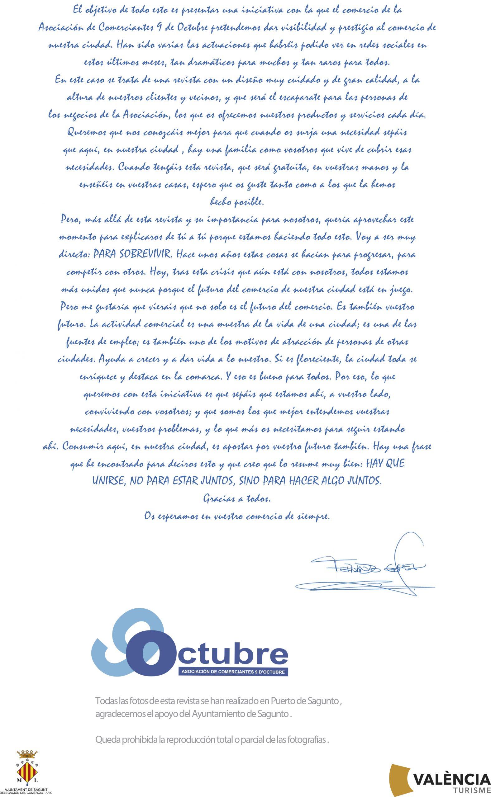 Carta del presidente Looks verano